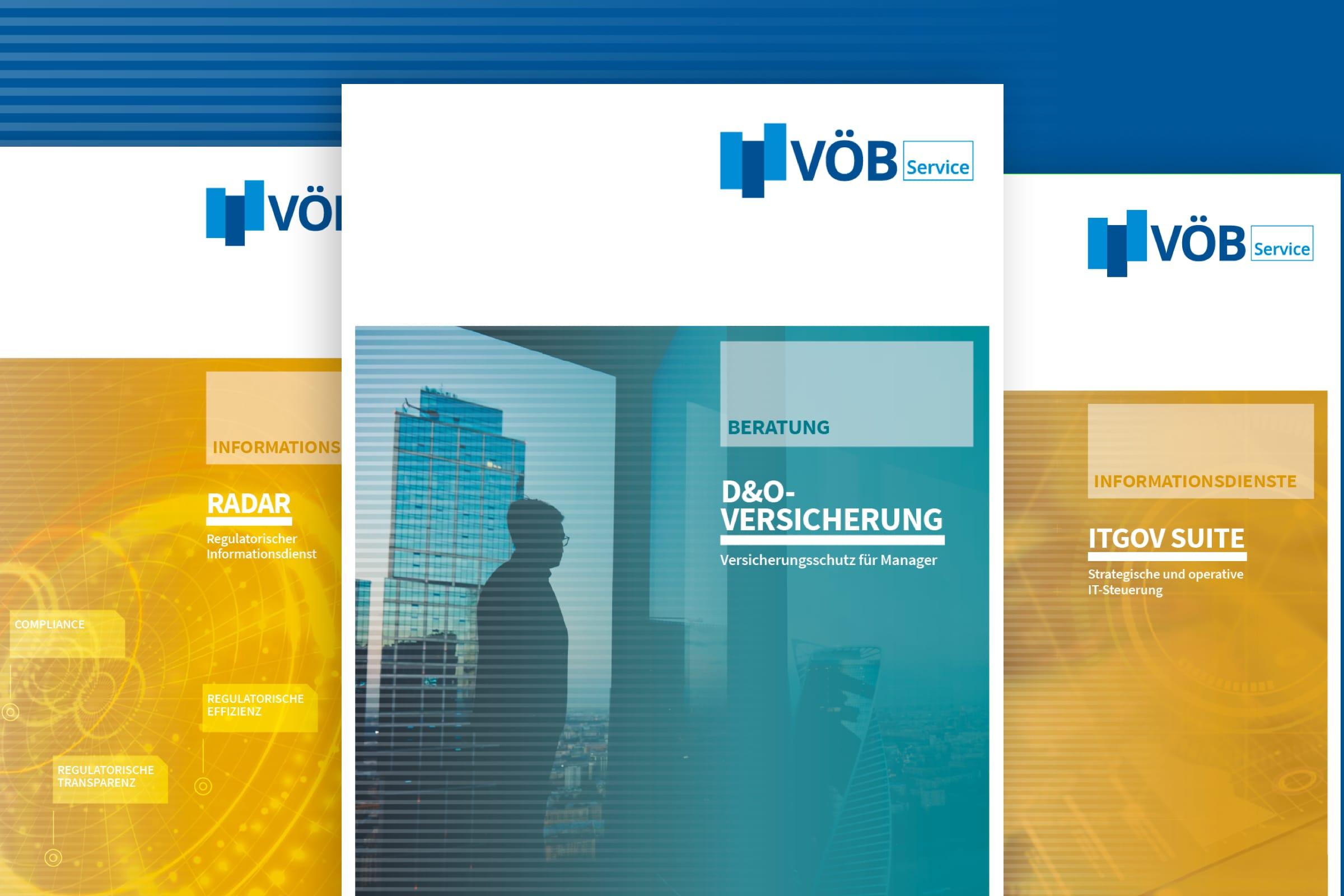 Montage von Titelseiten der Produktbroschüre des VÖB-Service