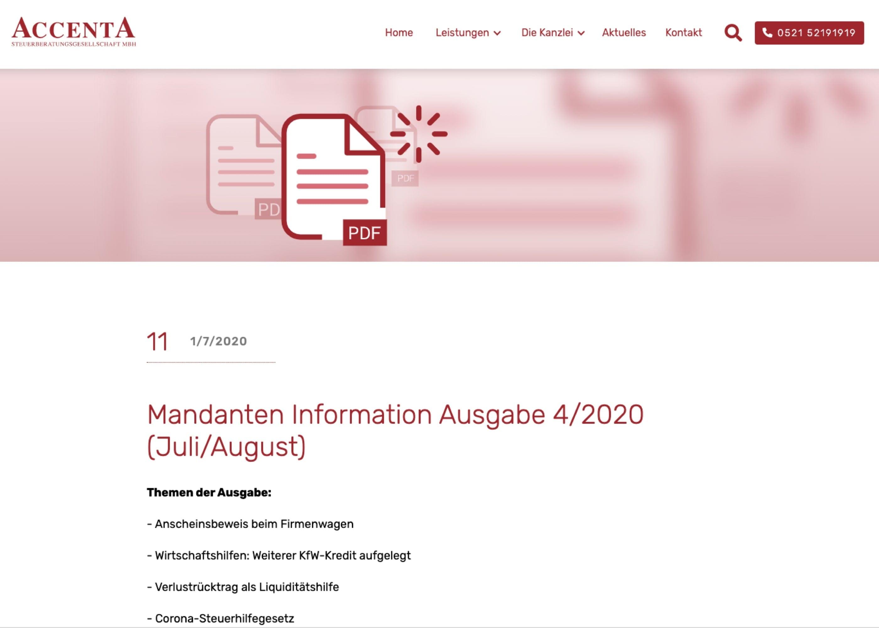 ACCENTA Steuerberatungs GmbH Newsdetailseite