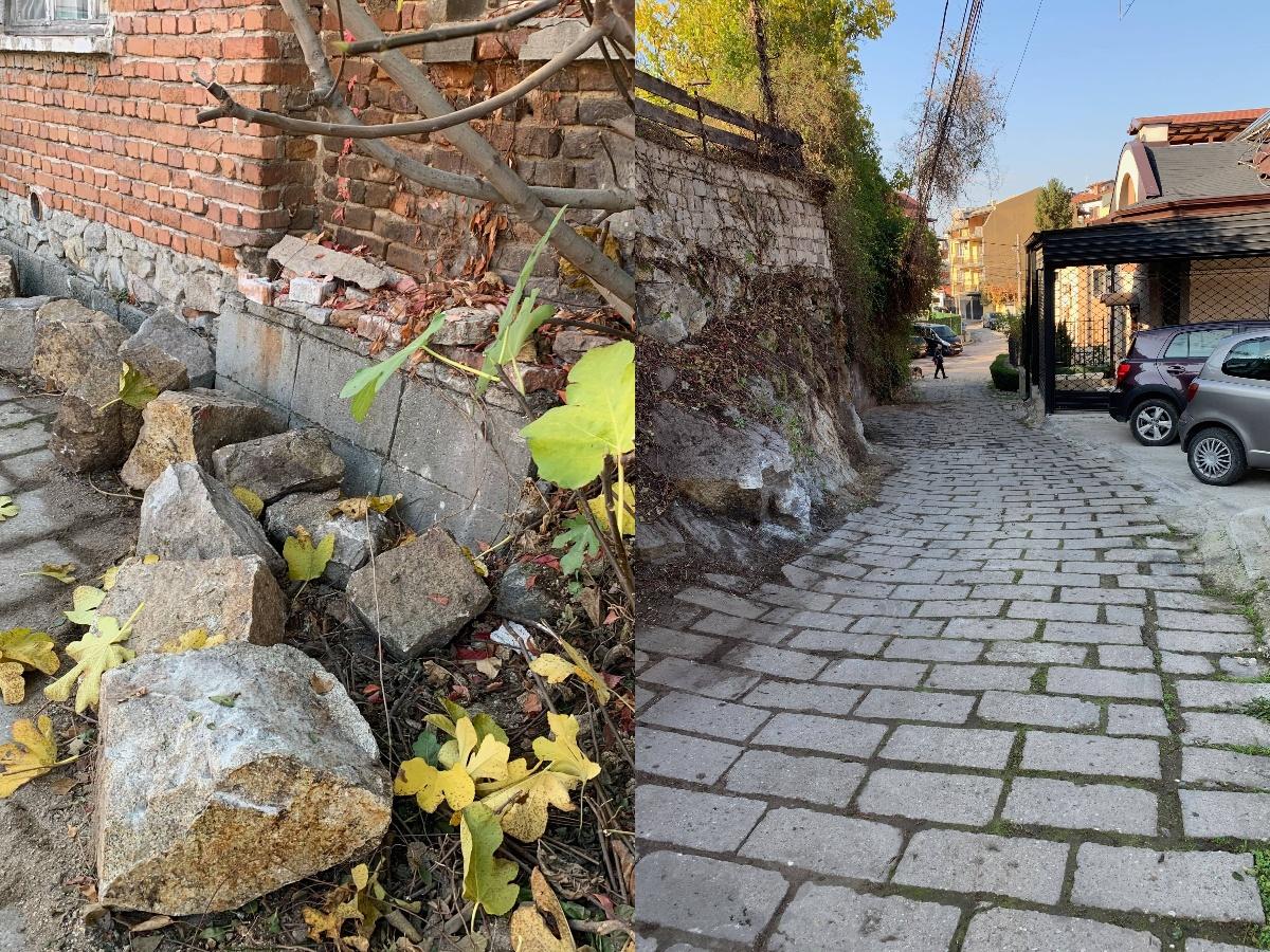 Къртят скали от Младежкия хълм, за да преминават бетоновози. Планират и сеч на дървета, които пречат на техниката.