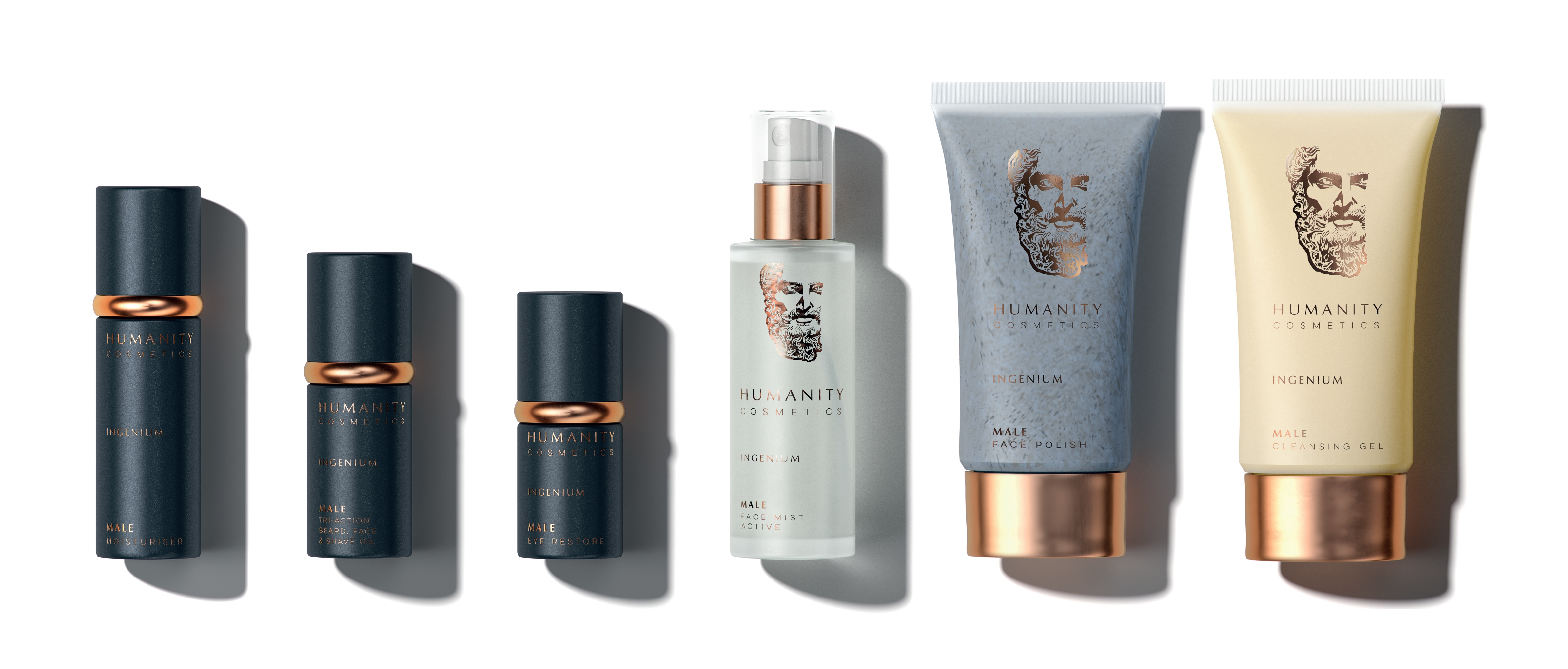 humanity cosmetics male skincare product range skin care for men grooming