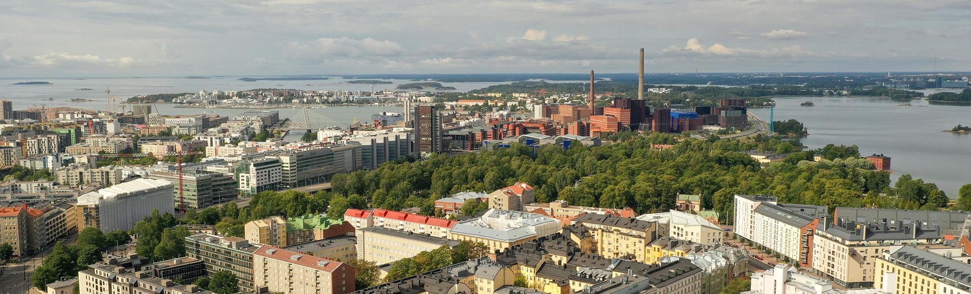aerial photo of Helssinki, parks, buildings