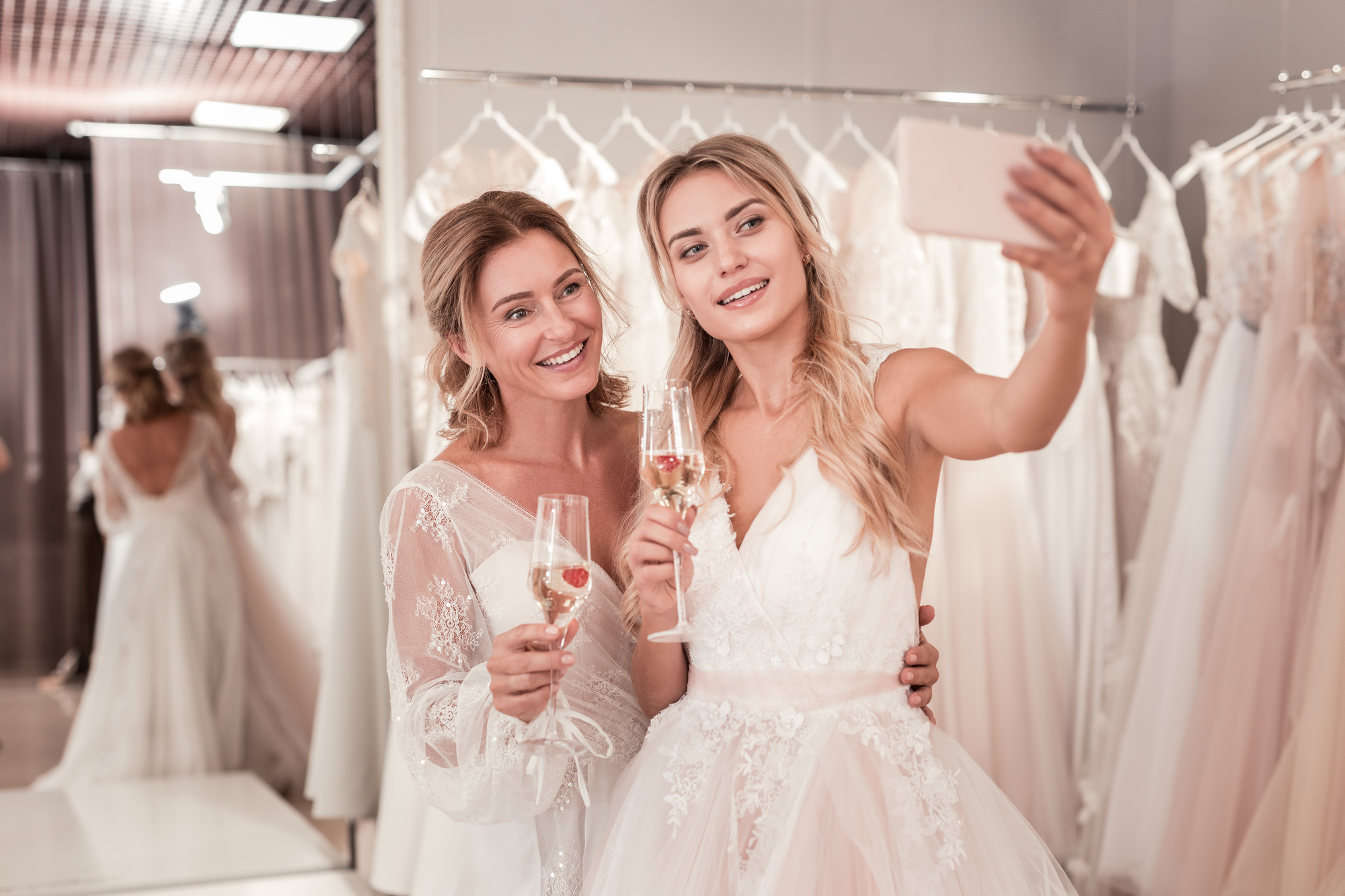 Sample Wedding Dress Shopping at One Love During a Pandemic