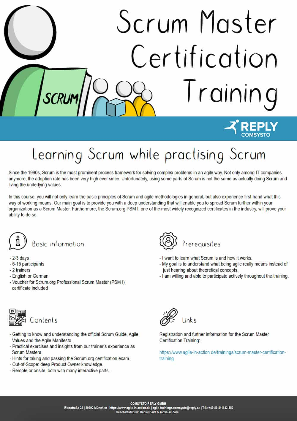 Short overview of the Scrum Master Certification training for PSM1 (Professional Scrum Master 1)