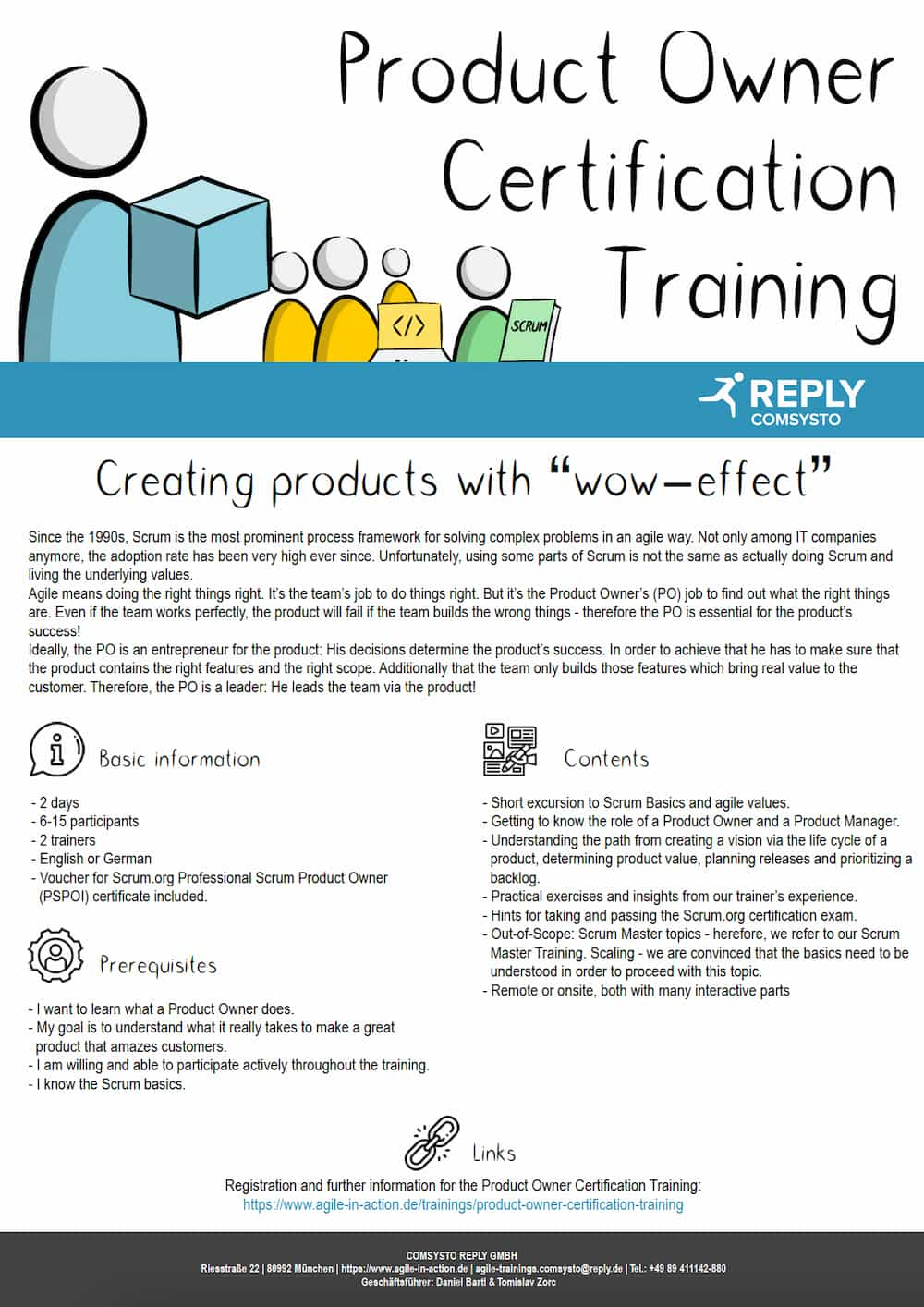 Short overview of the Product Owner Certification training for PSPO1 (Professional Scrum Product Owner 1)