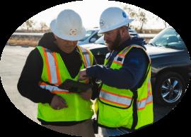 Consultants discussing construction plans