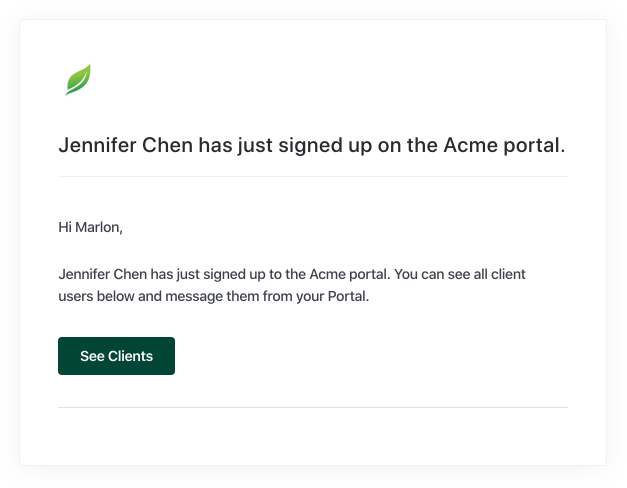 email notification client sign up
