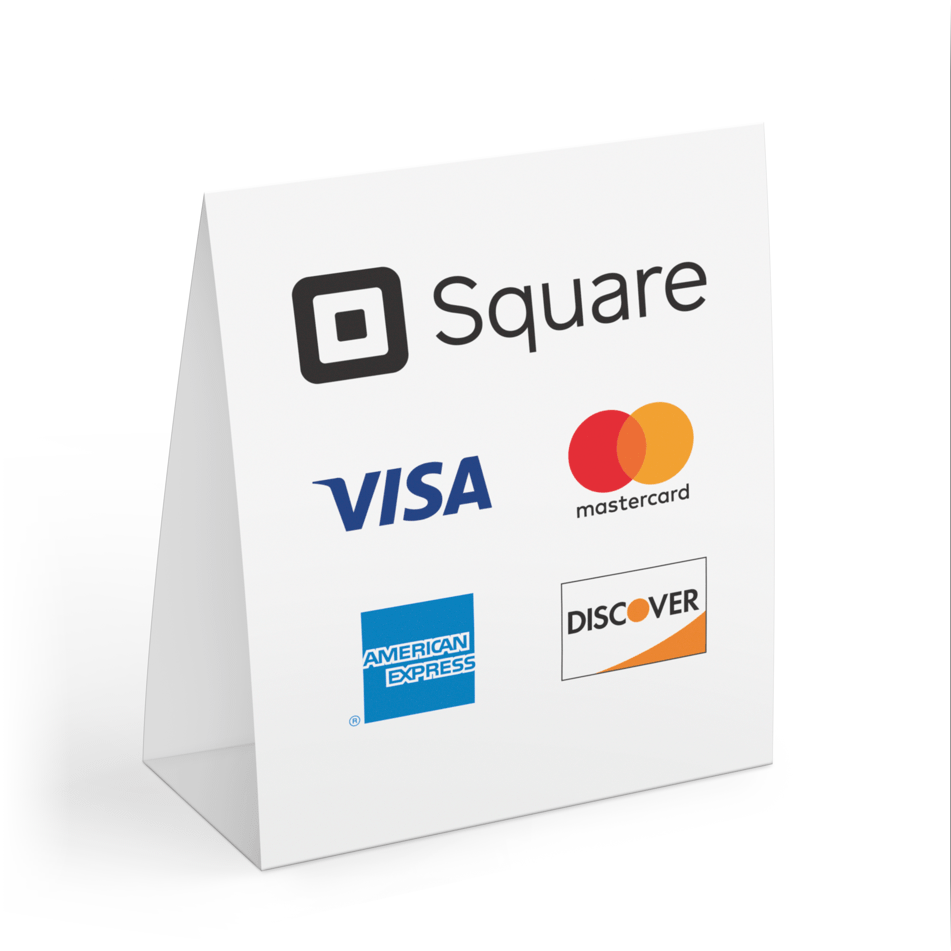 A card displaying the Square Platform's accepted methods of payment.