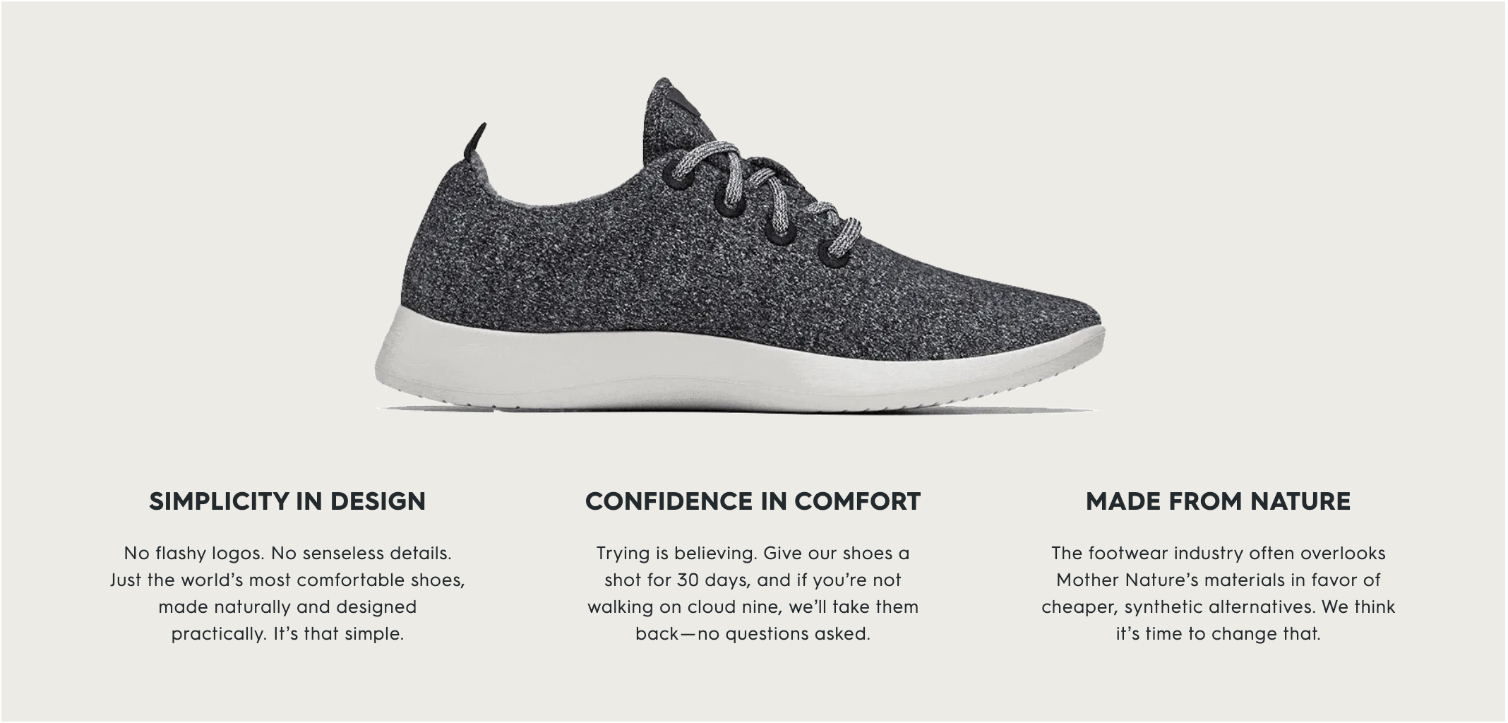 """Screenshot of mission from """"Our Story"""" on Allbirds.com"""