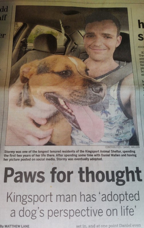 Front page story from the Kingsport Times-News about how shelter dogs saved Daniel Wallen from himself.