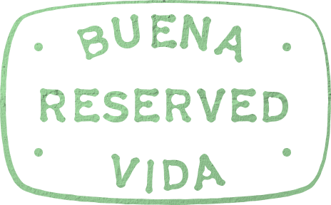 Small typographic badge reading Buena Vida Reserved.
