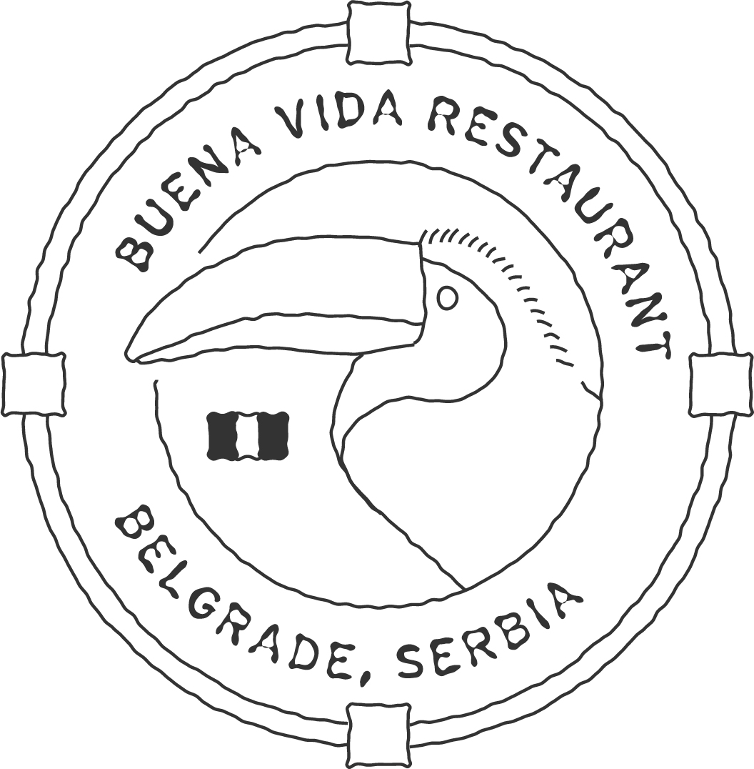 Badge design with a toucan that reads Buena Vida Restaurant.