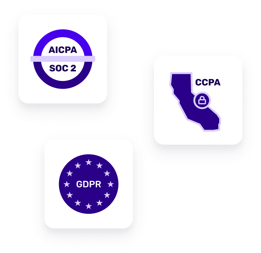 SOC 2Type 2, CCPA, and GDPR badges