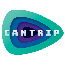 """The Cantrip full logo featuring the word """"Cantrip"""" on top of a tunnel of eye shapes nested into each other in green, blue, purple, and dark indigo."""