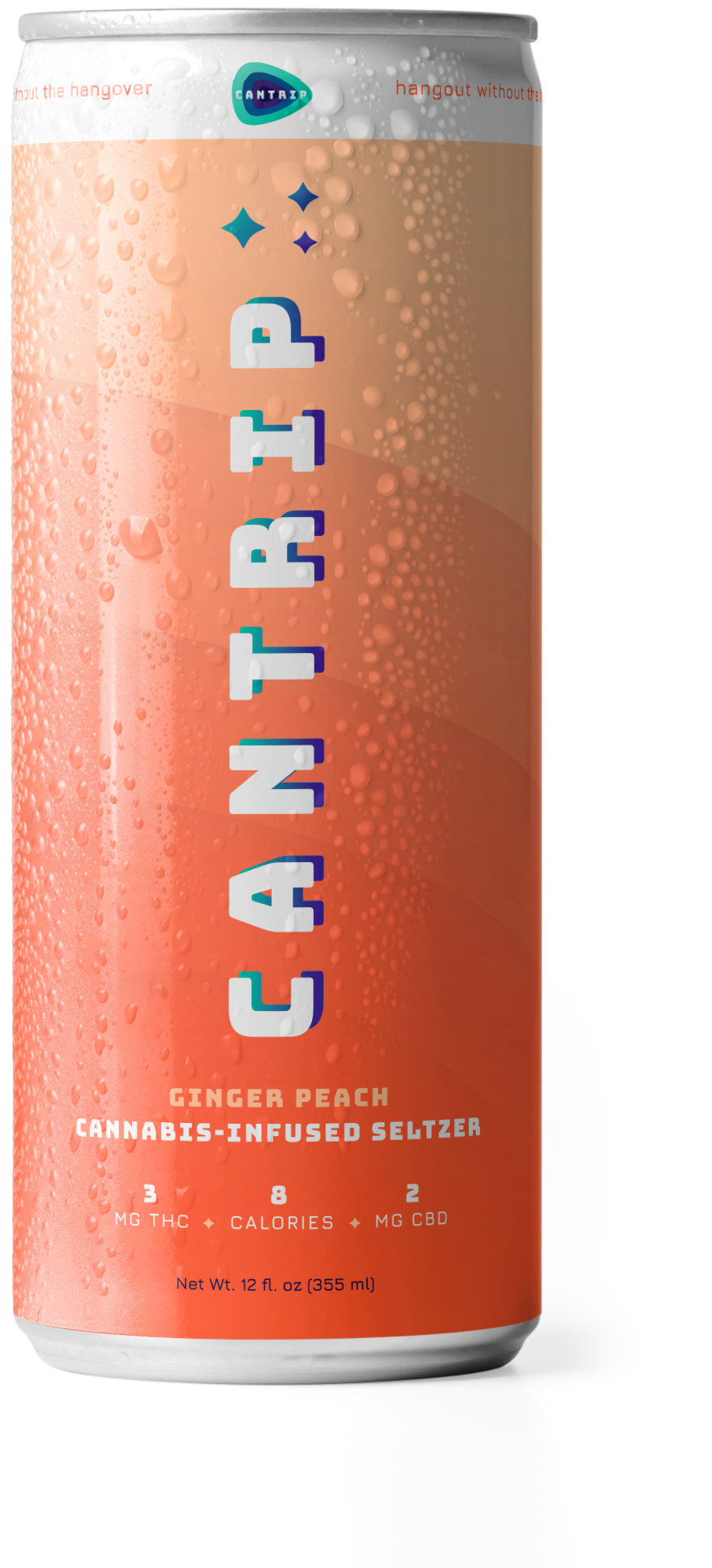 The Cantrip cannabis-infused seltzer Ginger Peach can.