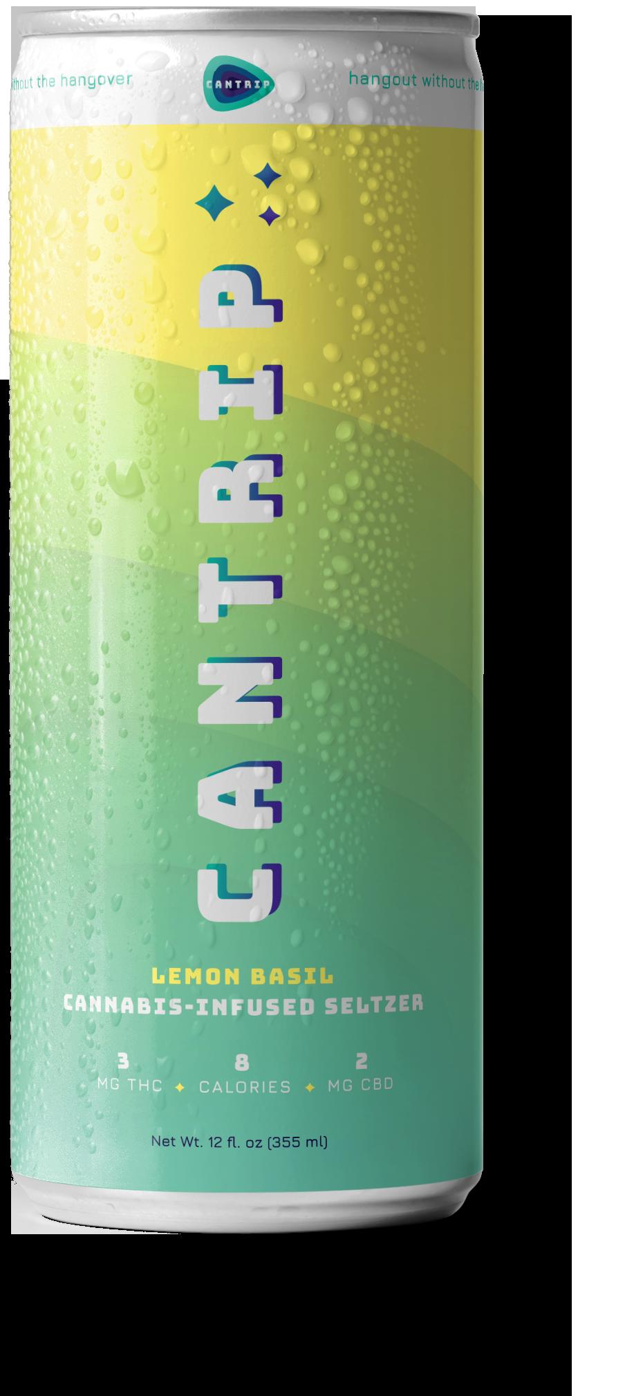 The Cantrip cannabis-infused seltzer Lemon Basil can.