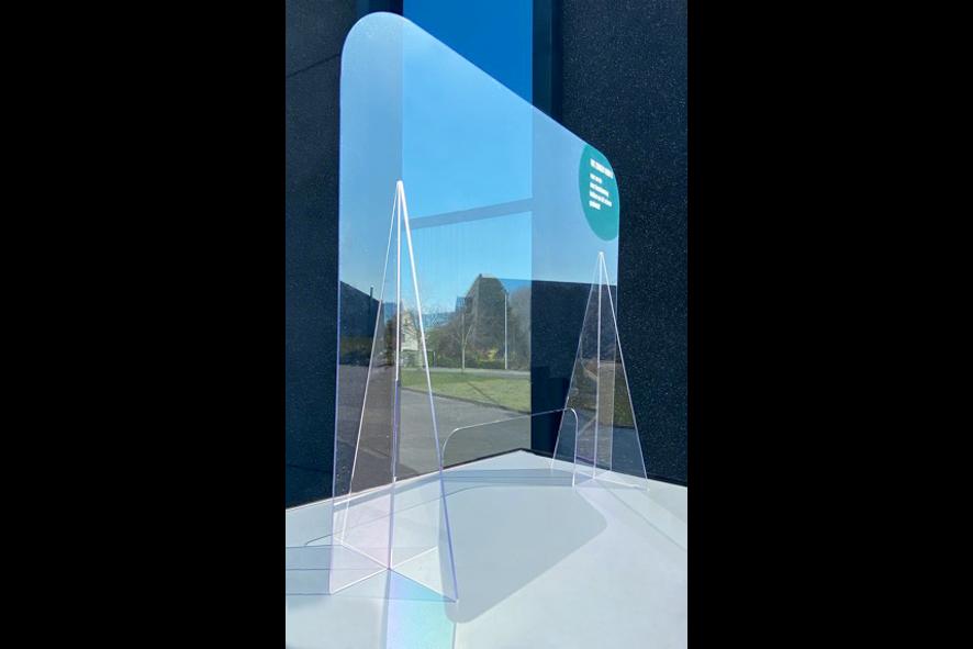 Balie Plexi Scherm met Transparante Voet