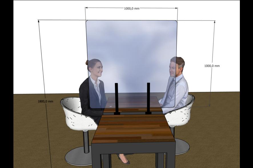 Plexi Tafelscherm met Aanhangsysteem (H: 100cm)