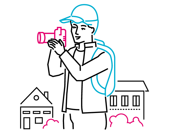 man with camera - photography illustration