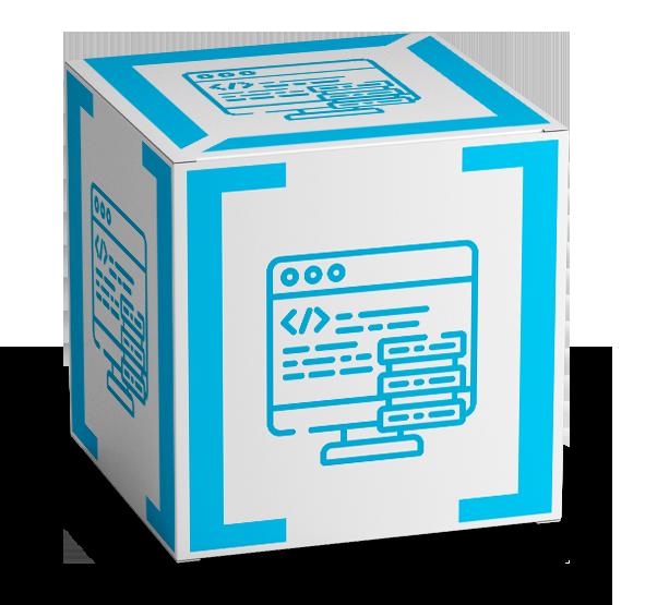 3d cube web design cube with bracket design logo on all sides