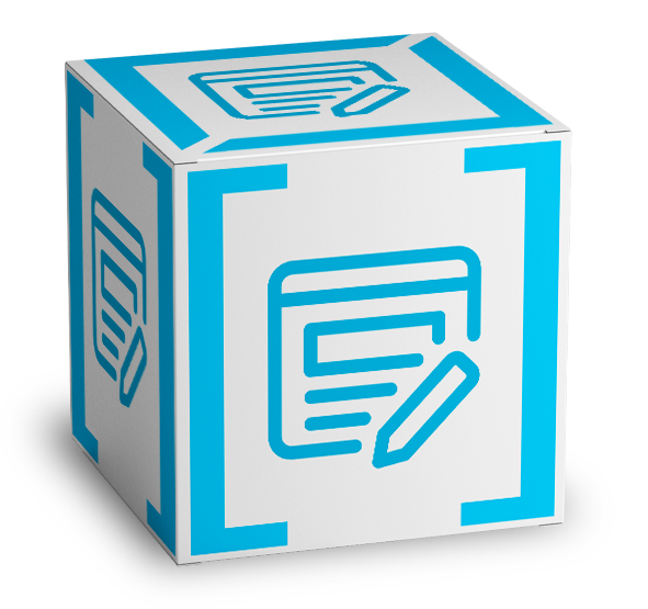 3d cube content marketing cube with bracket design logo on all sides
