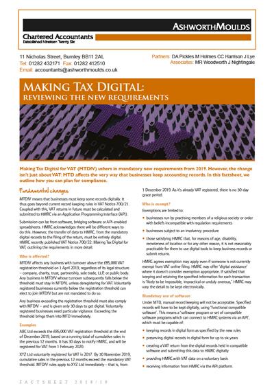 Ashworth Moulds Chartered Accountants factsheet: Making Tax Digital