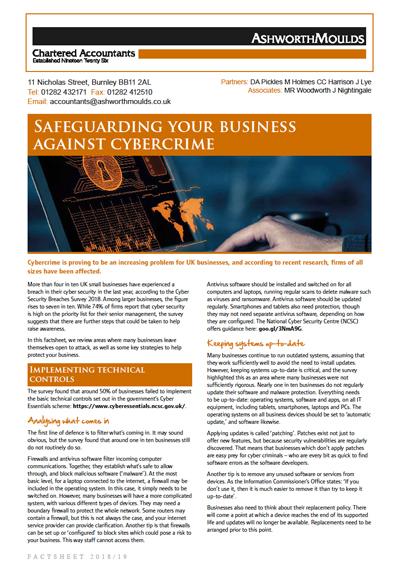 Ashworth Moulds Chartered Accountants factsheet: Cybercrime