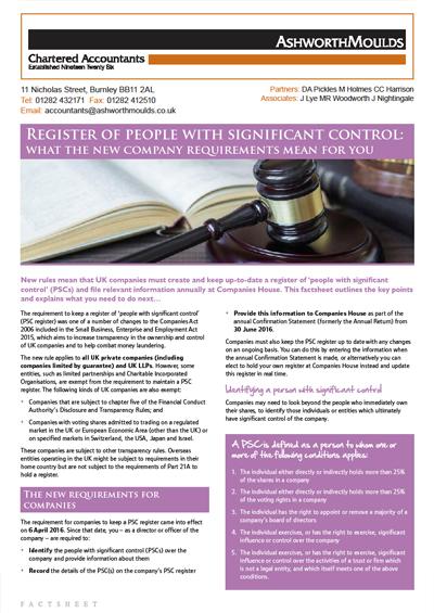 PSCs Factsheet, Ashworth Moulds Chartered Accountants