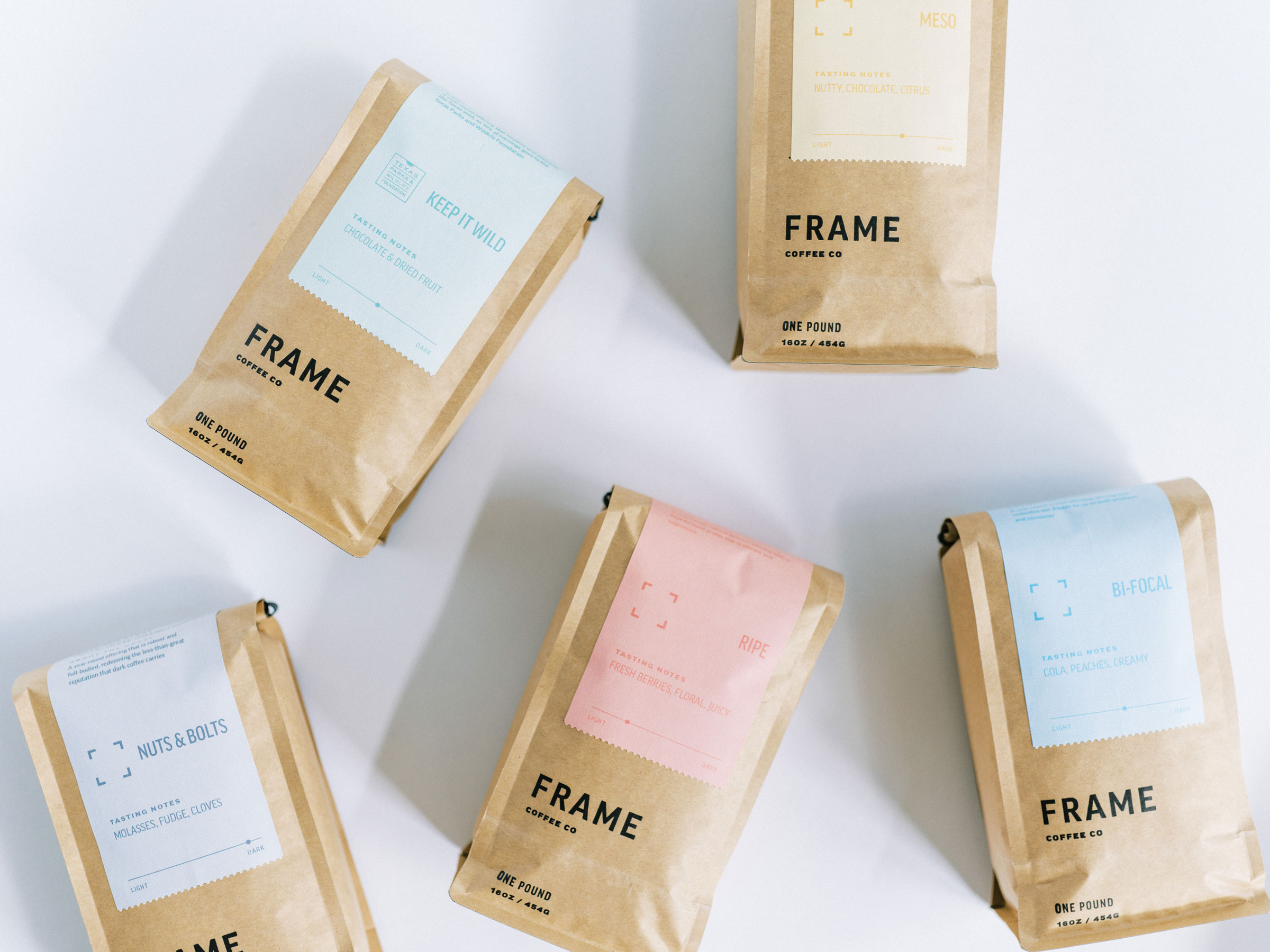 Assorted Bags of Frame Coffee Beans