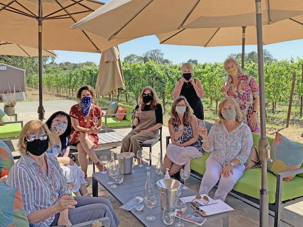 Women enjoying a wineyard