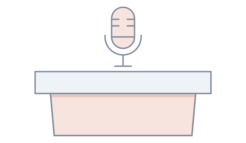 A podium with microphone