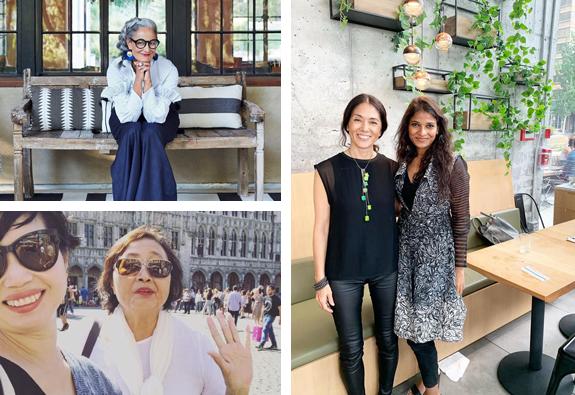 Collage of ladies reveling around the world.