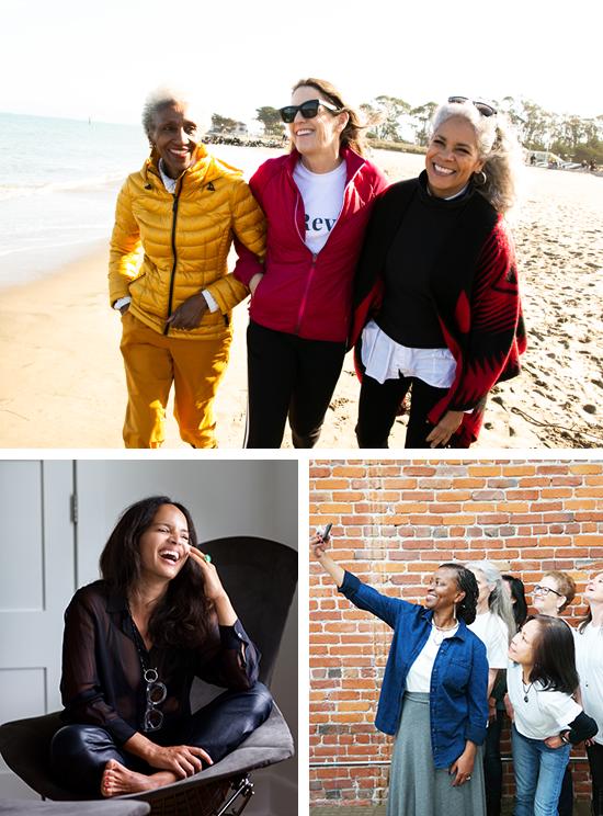 Collage of women doing activities.