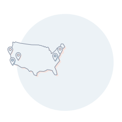An icon with 5 cities marked on a map of the United States