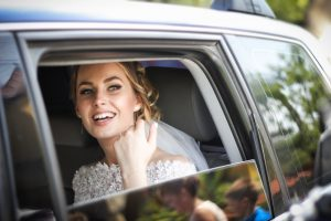 Woman on wedding day smiling