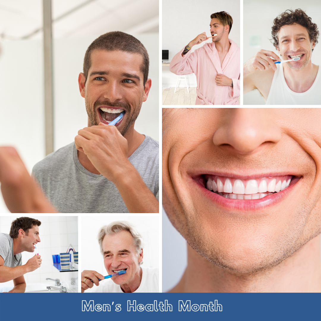 Men brushing teeth