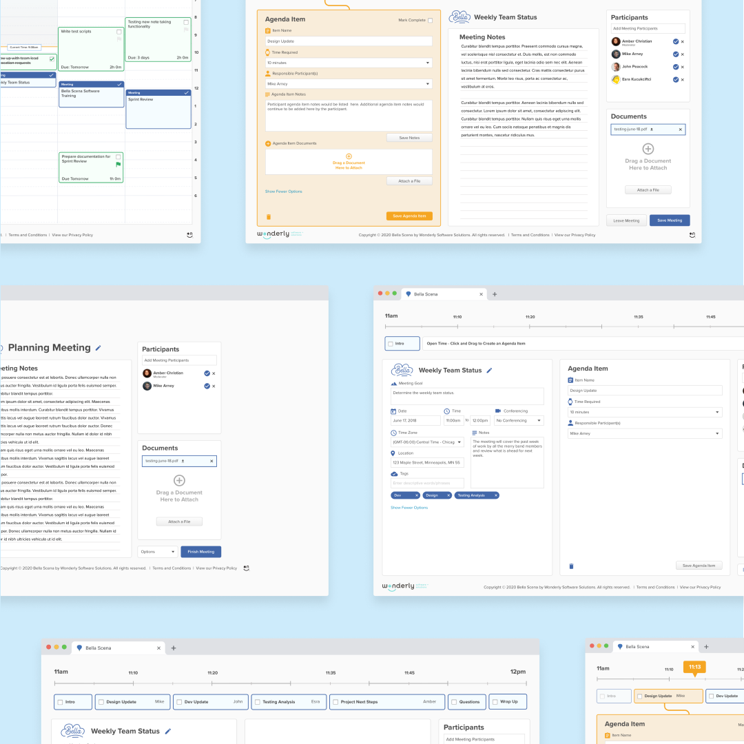 Collection of screens from Bella Scena web application.