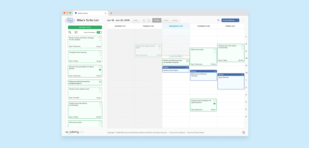 Todo and calendar view in Bella Scena application.