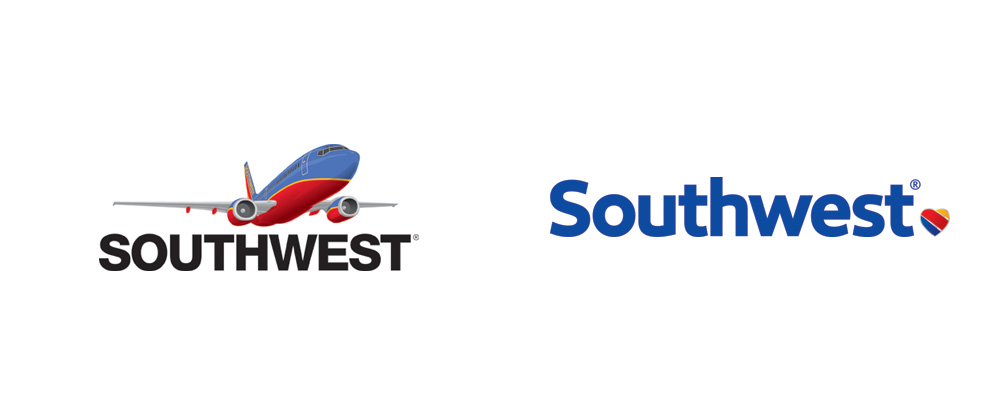 Before and after of southwest logo