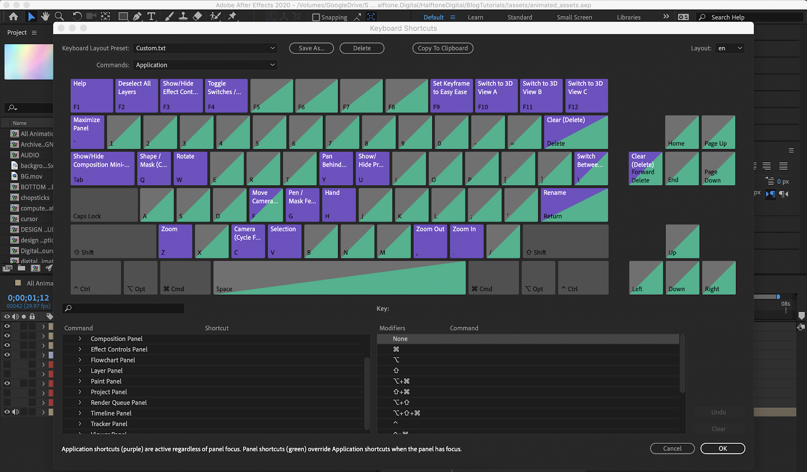 Keyboard Shortcuts window featuring the single command keyboard illustration and the section selection list