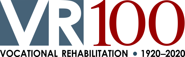 Blue and red VR100 logo in bold text
