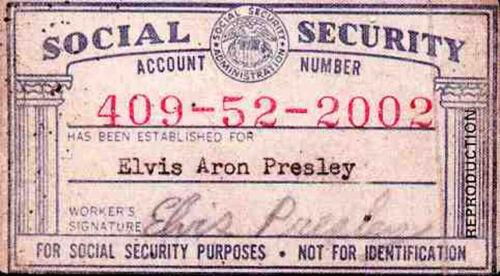 Social Security Card for Elvis Aron Presley