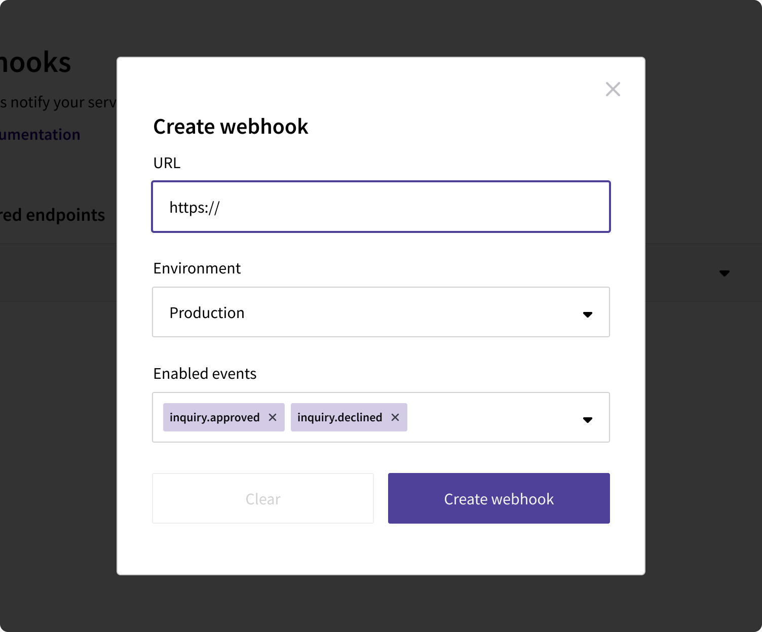 Create a webhook modal dialog in the Persona dashboard.