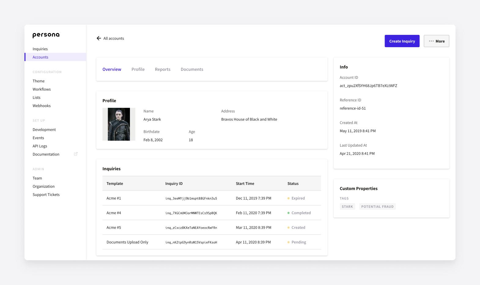 A unique Accounts profile in the Persona dashboard.