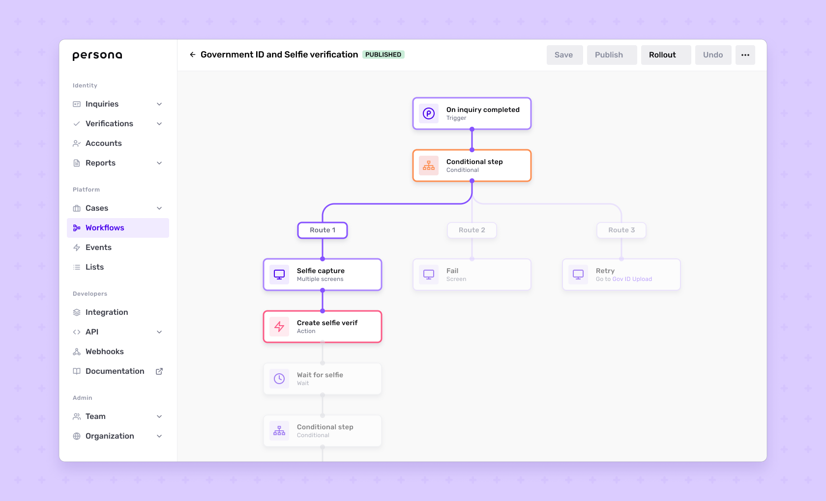 Automated Workflow showing a GovernmentID and Selfie flow