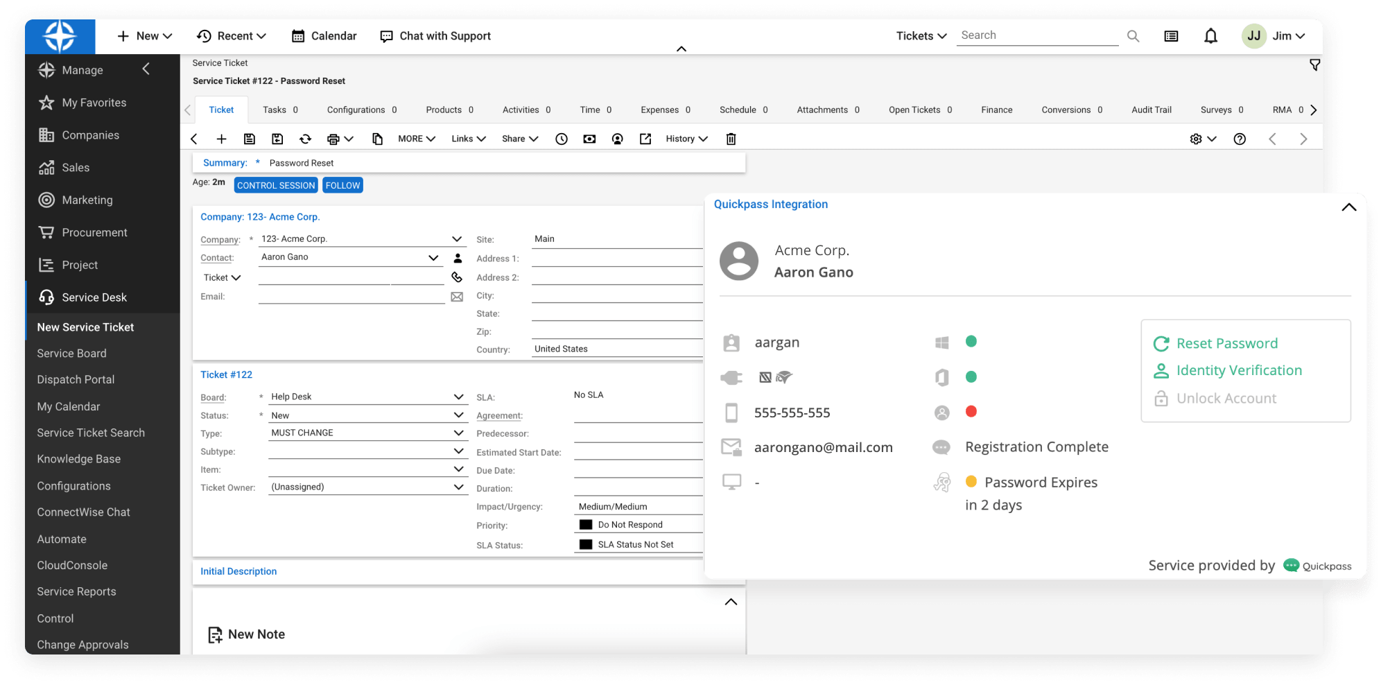 ConnectWise Manage interface with Quickpass Pod