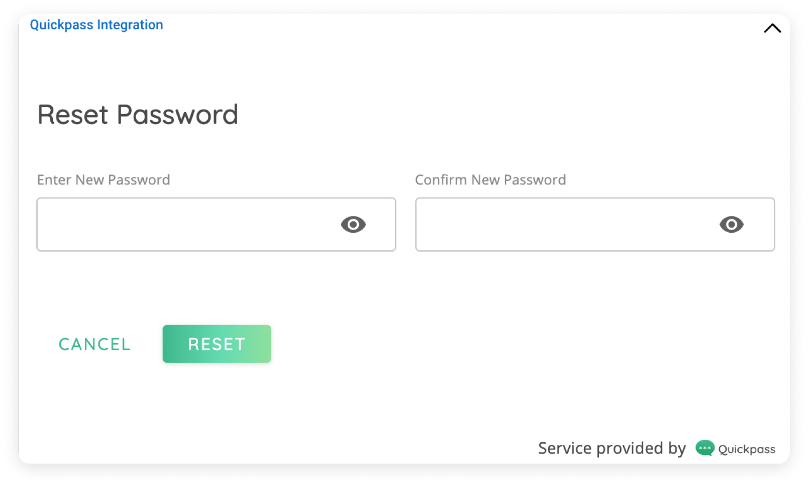Reset Password page on Quickpass pod