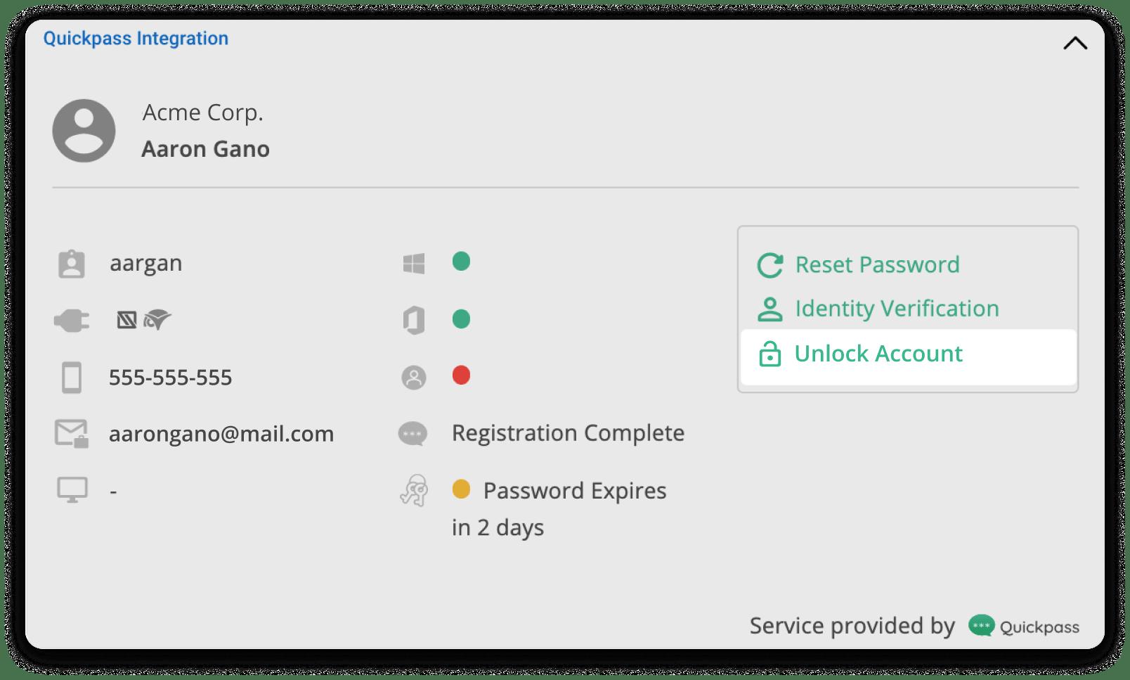 Unlock account Option Highlighted on Quickpass pod