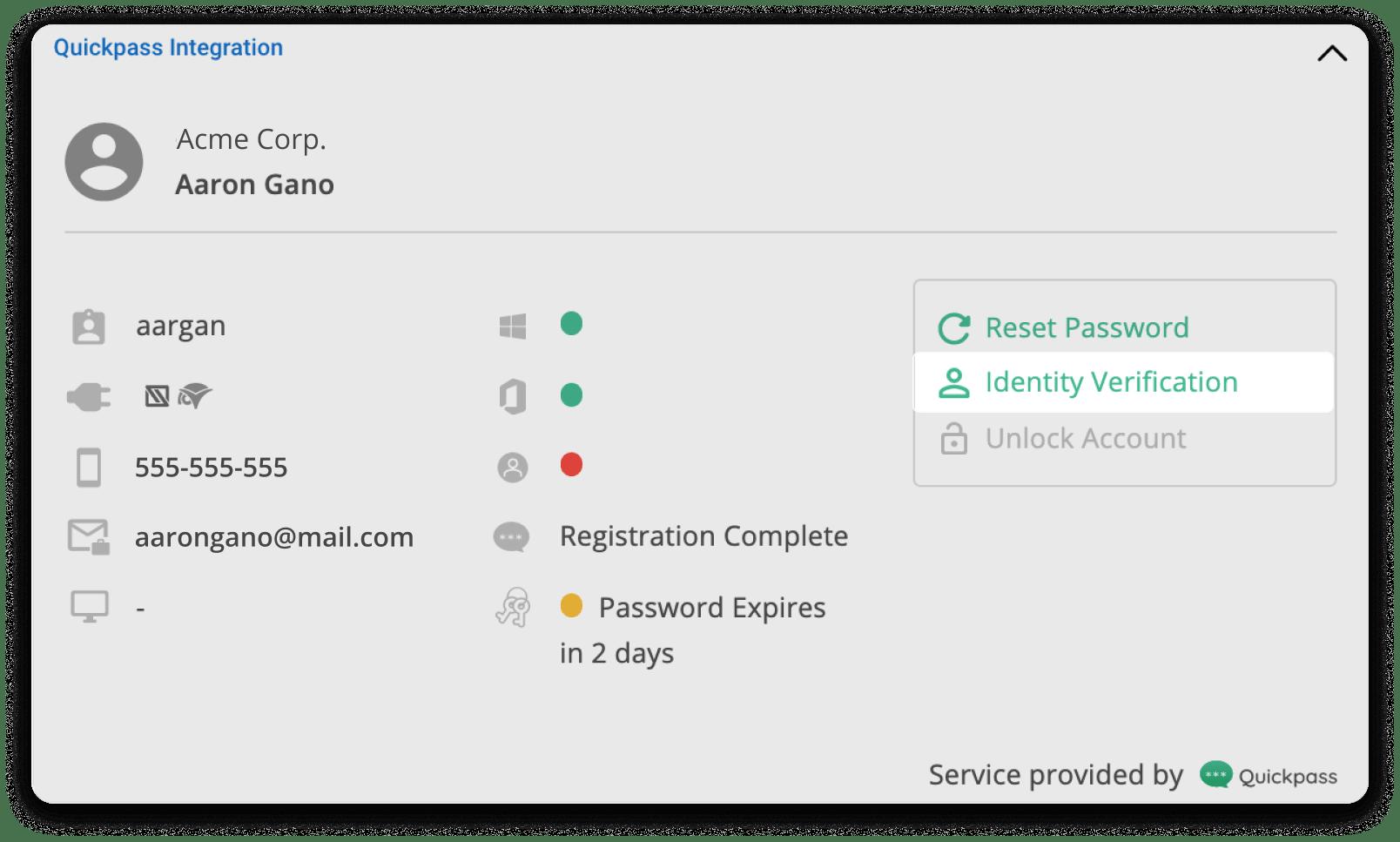 Identity verification Option Highlighted on Quickpass pod