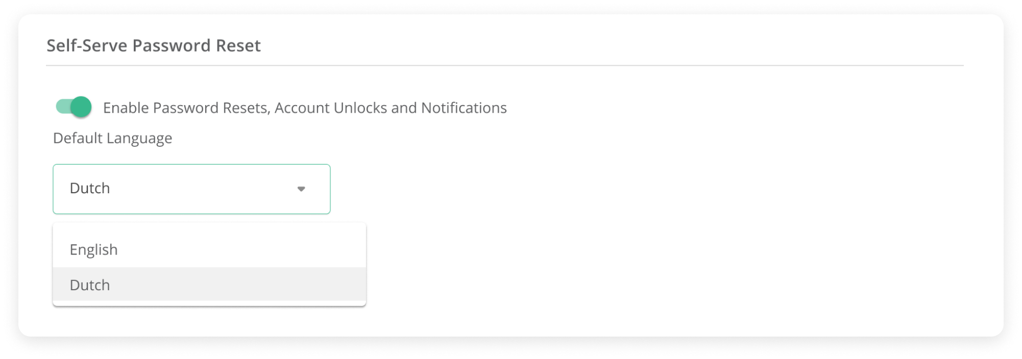 Self-serve password Reset options