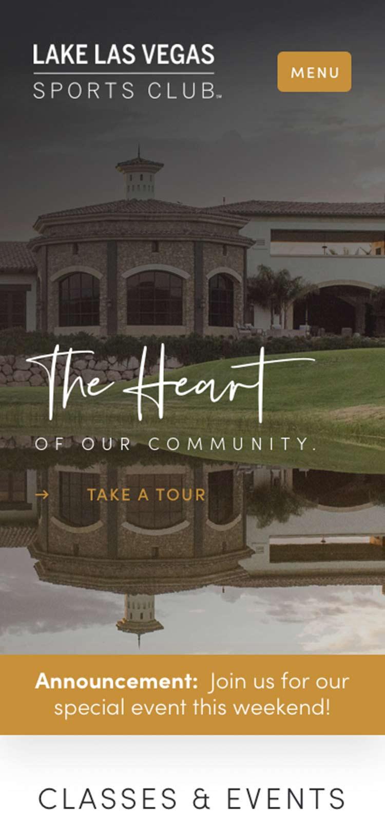 Lake Las Vegas Sports Club mobile website design.